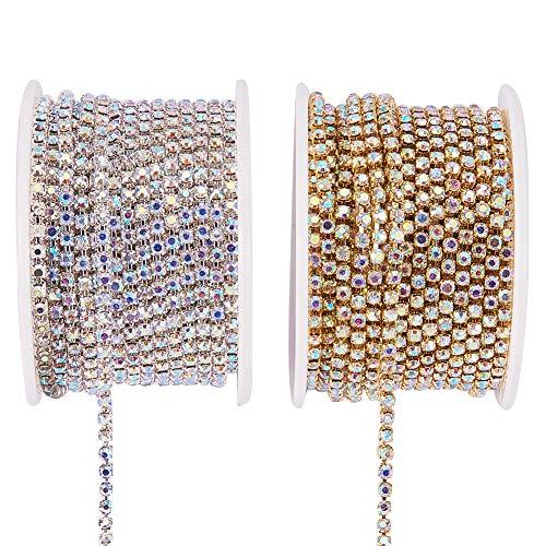 6fae234efc BENECREAT 2 Rollos 18.28m 2.6mm Crystal Rhinestone Cerrar Cadena de Recorte  Claro Cadena de Costura Artesania Alrededor de 2740 Piezas Piedras Strass  ...