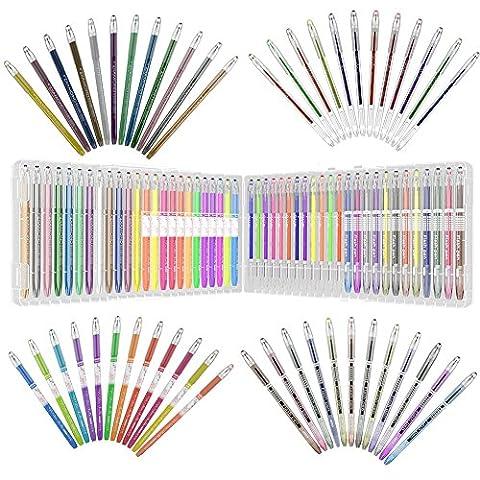 48 stylos gel contenant de l'encre de couleur, de 50%, le meilleur cadeau pour adultes artiste des livres à colorier, cartes, album de conception, de dessin, écriture, sketches, non reproduite couleurs inclus néon, métallique, pastel, gitter, 0,8 mm