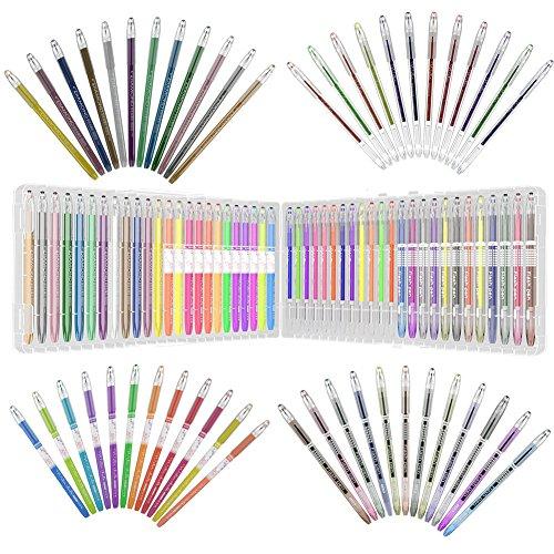 48 Farbig Gelschreiber Gelstifte Set mit Etui Einzelfach-Ablage,Metallic, Pastell und Glitter für, Malerei und Zeichnung (Pastell-malerei)