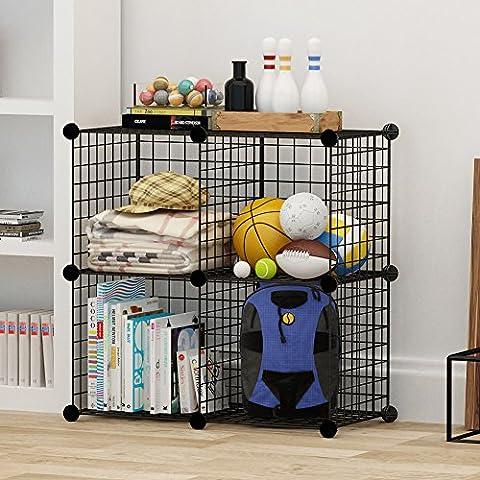 4cubos de almacenamiento por cosyhome, alambre de 4grids cubo organizador de armario estante armario estantería negro