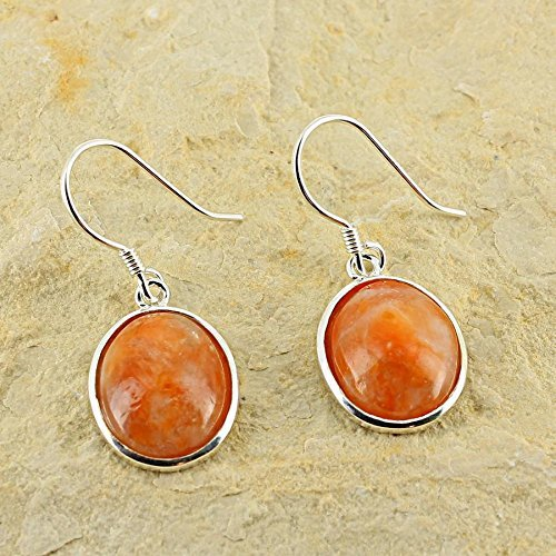 Pendientes D?Orejas ovaladas piedra natural y plata 925-Calcita Naranja