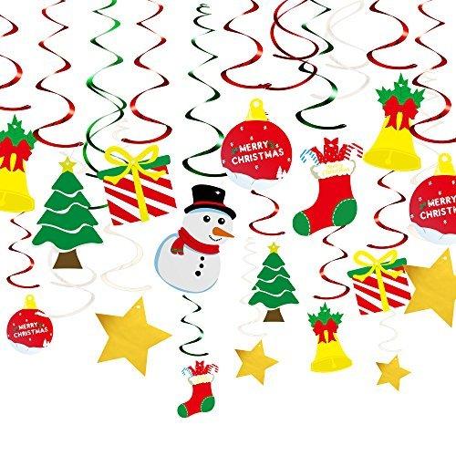 KUUQA 34 Pieces Christmas Hanging Swirl Decorations Kit Ceiling Swirl Decoration Christmas Tree Snowman Socks Gift Box Pentagram for Christmas Party Decoration