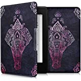 kwmobile Hülle für Amazon Kindle Paperwhite (2012/2013/2014/2015/2016/2017) - Flipcover Case eReader Schutzhülle - Bookstyle Klapphülle Elefant Zentangle Design Pink Anthrazit