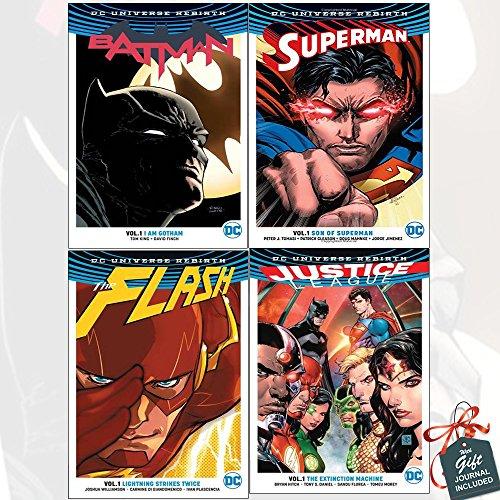 DC Universe Rebirth Collection 4 Books Bundle with Gift Journal (Batman TP Vol 1 I Am Gotham, SupermanTP Vol 1: Son of Superman, Flash TP Vol 1, Justice League TP Vol 1 The Extinction Machine)