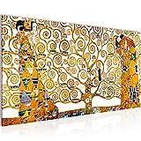 Bilder Gustav Klimt - Tree of Life Wandbild Vlies - Leinwand Bild XXL Format Wandbilder Wohnzimmer Wohnung Deko Kunstdrucke Gelb 1 Teilig - MADE IN GERMANY - Fertig zum Aufhängen 700012a