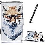 Slynmax Coque Huawei Honor 5C Housse de Protection Motif de Fox Luxe Peinture Etui Portefeuille en Cuir Porte Cartes et Housse Pliable Couvercle Rabattable de Protection Support Huawei Honor 5C