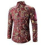 Herren Hemd Slim Fit Langarmshirt Freizeit Langarmhemd Bügelfreies Business Formale Anzug Party T Shirt Herren Mens Hawaii-Shirt 3D-Druck T-Shirt Sport Langarm T-Shirts Bluse Top (XL, Rot)