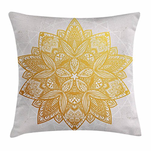 DCOCY - Funda de cojín, diseño de mandala dorada, símbolo místico con detalles circulares geométricos, inspiración de loto bohemio, funda de almohada decorativa cuadrada, 45,7 x 45,7 cm, color beige, dorado y blanco