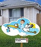 98 cm Baby-Klapperstorch Fußball JUNGE BLAU & Beschriftungstafel für draußen Geburt Storch-Holz Alternative