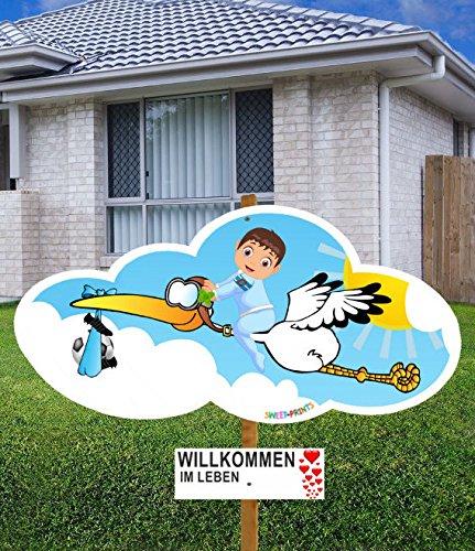 98 cm Baby-Klapperstorch Fußball JUNGE BLAU & Beschriftungstafel für draußen Geburt Storch-Holz Alternative 11