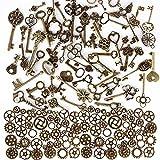 100 Gramme Antik Steampunk Zahnräder Metall Charms Anhänger + 69 Stück Antik Schlüssel Charms Vintage Mixed für Schmuck Basteln Schmuckherstellung Zubehör Dekoration