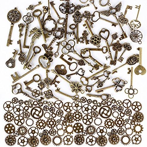 100g Steampunk Engranajes + 69pcs Llaves Antiguas Colgantes Vintage Joyas para Manualidades, Proyectos de Scrap, Adornos, DIY
