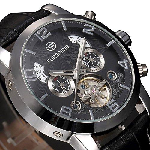 Yisuya Herren Armbanduhr, Tourbillon, automatische mechanische Lederuhr, Fashion, Mehrere Zeitzonen, Selbstaufzug, Analog-Display, Schwarz