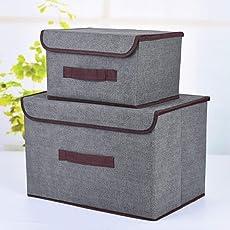 SYGA Set of 2 Sizes Cotton & Liene Dust-Proof Storage Box Organizer for Clothes(Grey)