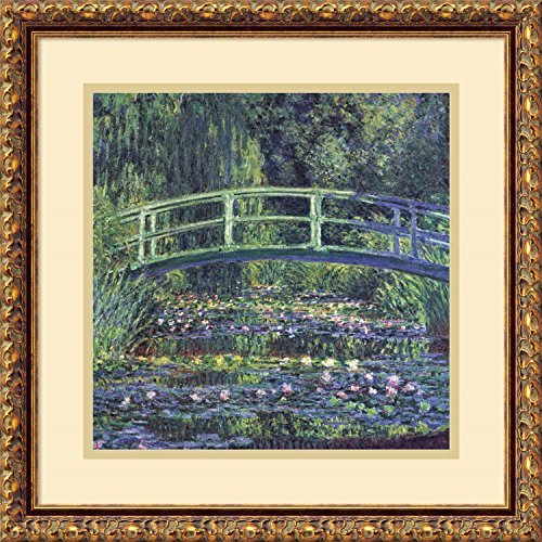 1899 Print (Framed Art Print, 'Water Lily Pond, 1899 (blue)' by Claude Monet: Outer Size 18 x 18 by Amanti Art)