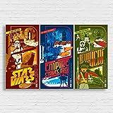 Box Prints Star Wars Trilogie Film Retro Vintage-Stil Poster Drucken Schwarz Weiß gerahmte Kunst Bild Klein groß