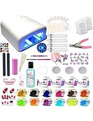 Kit manucure Eco lampe BLANC gel uv nail art capsules faux ongles