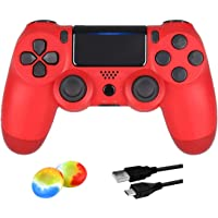 Wireless Controller for PS4, Remote for Sony Playstation 4 with USB Cable and Double Shock, Red