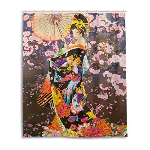 Geisha Bath (LIANCHENYI wunderschöner japanischer Geisha-Mädchen unter dem Mondlicht, wasserdicht, Badevorhang, 100% Polyester, Heimdekoration, Bad, Duschvorhang, 152,4 x 182,9 cm)