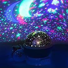LED Luz nocturna – Skyaba Noche Lámpara proyector de estrellas Lamp Bedside Dormir Luz para Baby & kinders Dormitorio Romántico Regalos para el Niño, Cumpleaños y Fiestas (Azul)