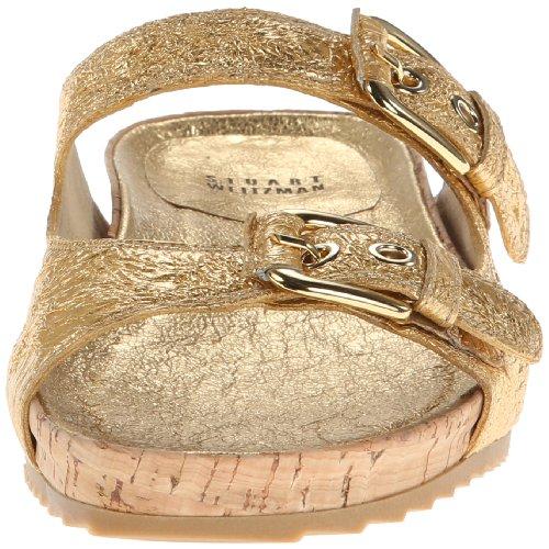 Stuart Weitzman Freely Cuir Sandale Oro Foil-Nude