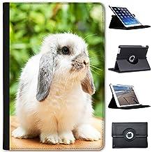 Conejo conejos (piel sintética, función atril), diseño con función atril para tablets negro Cute Lop Rabbit Apple iPad Mini 1, 2 & 3