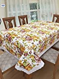 #8: Clasiko 6 Seater PVC Table Cover; Multicolor Flowers On Beige Base; Anti Slip; 60x90 Inches; 6 Seater