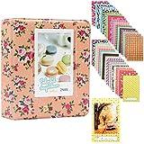 Albus Store 64 Pockets Mini Photo Album pour Fujifilm Instax Mini 7s 8 8+ 25 26 50s 70 90 Caméra Instantanée et Carte Nom (Fleur rose)