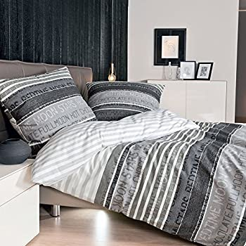 janine mako satin bettw sche 135 x 200 cm satin bettbezug grau palermo bettw sche grau aus. Black Bedroom Furniture Sets. Home Design Ideas