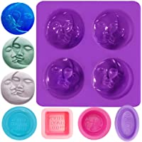 AIFUDA Lot de 5 moules à savon en silicone pour la fabrication de savon, 4 cavités soleil et lune, pour la fabrication…