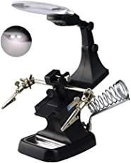 ZIGLY LED Light Helping Hands Magnifier Station - 2X 4X USB Lighted Hands Free Magnifying Glass Stand with Clamp and Alligator Clips - For Soldering, Assembly, Repair, Modeling, Hobby and Crafts (Black)