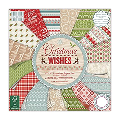 First Edition Premium Paper Pad 8-inch x 8-inch 4 Christmas Wishes
