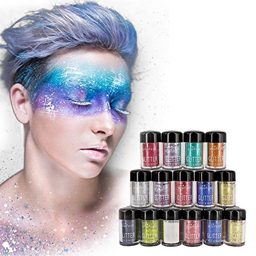 Lip Pigment (12 Farben Eyeshadow Glitter Kit, Lip Brighten OYOTRIC For Nail Art Face And Body Loose Mineral Pigment Metallic Powder Glitter Pots)