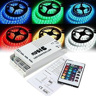 ADAALEN 24 Schlüssel RGB LED Strip Music Sound 3-Kanal IR Fernbedienung Dimmer DC12-24V