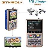 """GT MEDIA V8 Satelliten Finder Meter Sat Finder Satellitenerkennung DVB-S / S2 / S2X Signalempfänger Decoder HD 1080P FTA 3,5 """"LCD Eingebauter 3000mAh Zur präzisen Einstellung der Satellitenschüssel"""