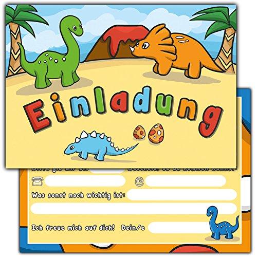 """Preisvergleich Produktbild 10 Einladungskarten zum Kindergeburtstag """"Dinosaurier"""" // Geburtstagseinladungen Einladungen Geburtstag Kinder Jungen Mädchen Einladungstext 1. 2. Vorlagen Tier Dino Karten"""