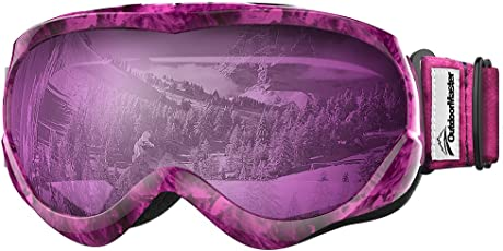 OutdoorMaster Skibrille Kinder, Snowboardbrille mit Rahmen, Helmkompatible Schneebrille mit Dual-Layer Lens Technology, 100% OTG UV-Schutz Anti- Nebel Ski Goggles für Skifahren, Skaten, Snowboarden