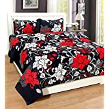 Multitex Combo Of Cotton Double 5D Bedsheets With 2 Pillow Cover (Black)