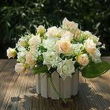 LVLIDAN künstliche Blume Kunstblumen real touch Bauernhaus Stil,Topfpflanzen,Zaun,Kunststoff Blume,weiß