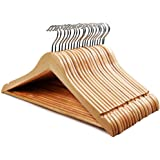 STAR WORK Solid Wood Natural Finish Garment Hangers with Non-Slip Bar and Precisely Cut Notches, 360 Degree Swivel…