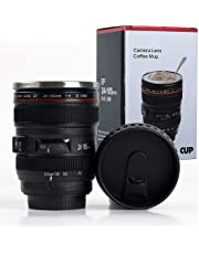 Shoptoshop Camera Lens Shaped Coffee Mug with Lid, 400 Ml, Black (Mug_001)