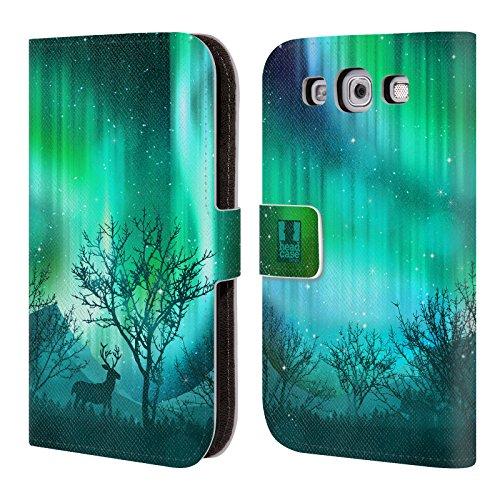 Head Case Designs Heulender Wolf Grün Nordlichter Brieftasche Handyhülle aus Leder für Samsung Galaxy Note 4 Wäldchen