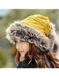Las mujeres del sombrero del invierno del casquillo de lana, además de terciopelo de punto caliente del espesamiento dual - Utilice collar de marea Conejo Nuevo pelo del oído ( Color : Amarillo )