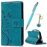 YOKIRIN Case für Samsung Galaxy Alpha SM-G850 Einfach PU Leder Flipcase Tasche Backcase Innere Soft TPU Book Cover Handyhülle Schutz Hülle Handytasche Schale Lederhülle Blau