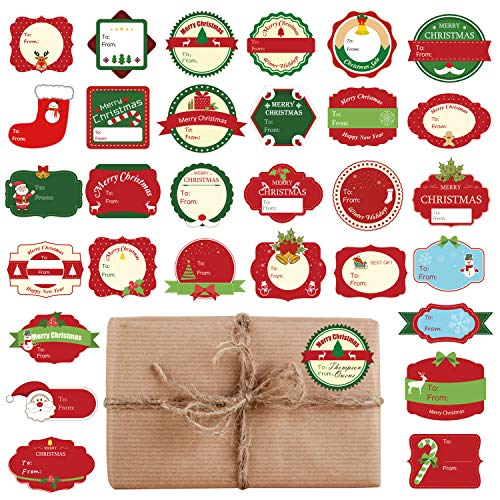 TUPARKA 160 Stück Weihnachtsetiketten Aufkleber Selbstklebende Etiketten Weihnachtsgeschenkanhänger für Weihnachtsgeschenkbeutel und Geschenkpapier