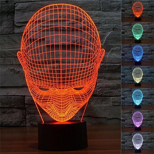 3D Maske Illusions LED Lampen Tolle 7 Farbwechsel Acryl berühren Tabelle Schreibtisch-Nacht licht mit USB-Kabel für Kinder Schlafzimmer Geburtstagsgeschenke (Maske Braunbär)