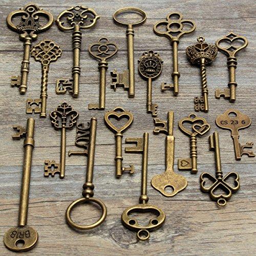 Mohoo 18 pcs antico Vintage chiave dell'annata vecchio look bronzo Skeleton Key dell'arco del cuore blocco ciondolo