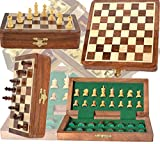Chess Bazar - Magnetic Travel Pocket Chess Set - Staunton 7 X 7 Inch Folding Game Board Handmade in Fine Rosewood Manufacturer: ChessBazar