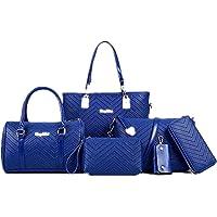 AlwaySky Damen Handtaschen Set 6 Stück PU-Leder Top Griff Tasche Frauen Shopper Geldbörse Umhängetasche
