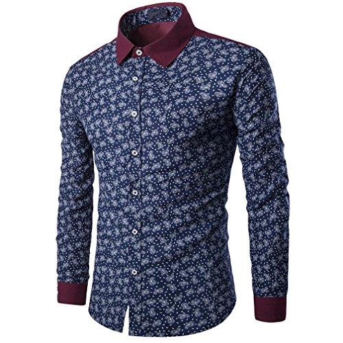 SEWORLD 2018 Herren Langarmhemd Lässiges Drucken Trachtenhemd Business Slim Fit Hemden Bluse Oktoberfest(Marine,EU-42/CN-M)